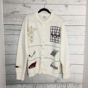 Hand Loomed Pic-A-Knit Healthcare Cardigan Sweater Heart Shape Buttons